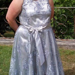 B2L Créations- robe grise dentelle et perles
